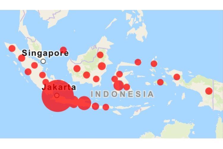 Peta sebaran kasus Covid-19 di Indonesia