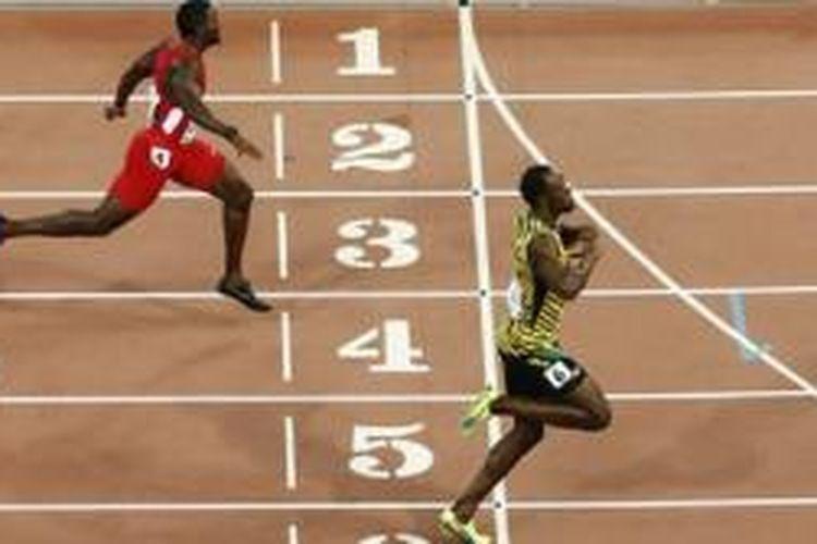 Usain Bolt (kanan) mengalahkan Justin Gatlin (kiri)