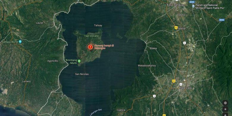 Lokasi Gunung Taal jika dilihat dari Google Maps