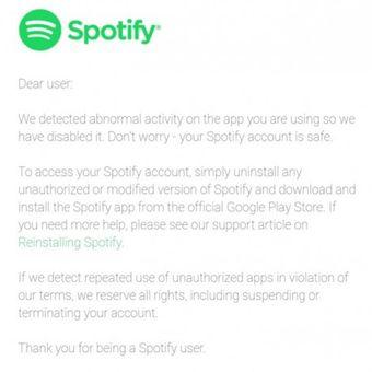 Tangkapan layar email Spotify yang dikirim ke pengguna yang mengakses Spotify bajakan