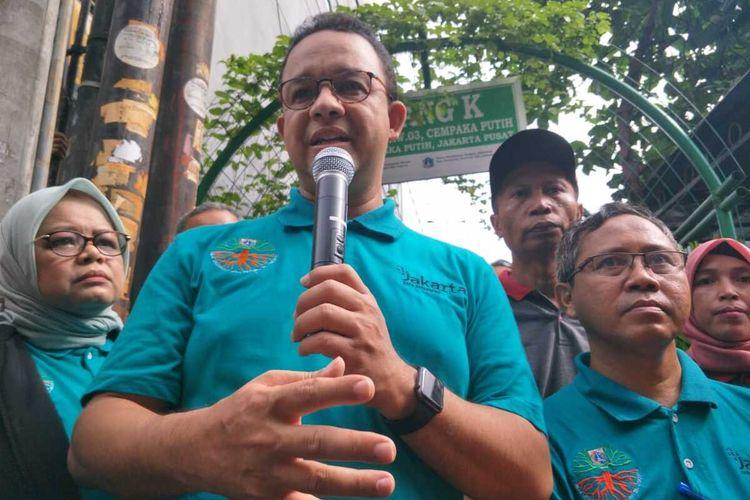 Gubernur DKI Jakarta Anies Baswedan saat hadiri peringatan hari peduli sampah nasional (HPSN), di Cempaka Putih Timur, Jakarta Pusat, Jumat (21/2/2020)