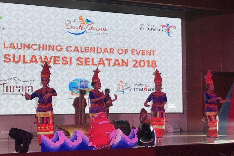 Peluncuran Tiga Event Unggulan Sulsel di Gedung Sapta Pesona, kantor Kemenpar, Jakarta, Kamis (12/7/2018)