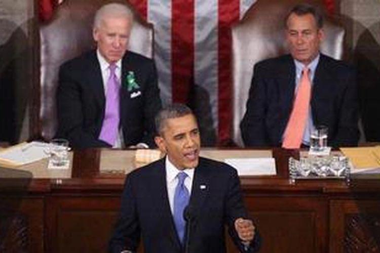 Presiden AS Barack Obama menyampaikan pidato kenegaraan tahunannya di hadapan kongres AS, Selasa (12/2/2013) malam waktu setempat. Dalam pidatonya Obama menyampaikan berbagain hal mulai upaya perbaikan ekonomi higga penarikan tentara AS dari Afganistan.
