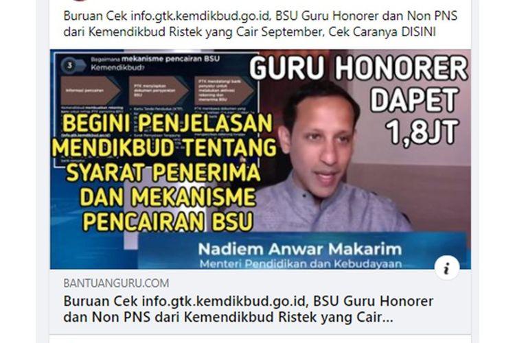 Unggahan hoaks tentang BSU guru honorer cair September