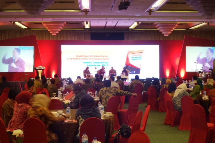Peluncuran Indeks Demokrasi Indonesia di Hotel Kartika Chandra, Selasa (5/12/2017).