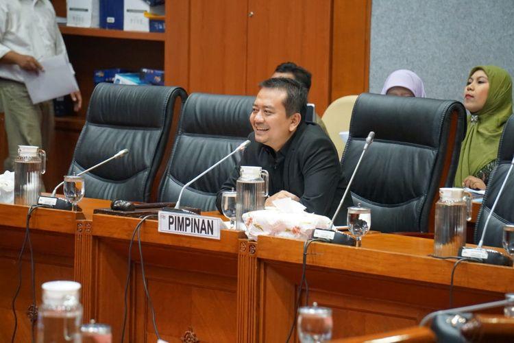 Ketua Komisi X DPR Syaiful Huda dalam rapat kerja bersama Menpora Zainudin Amali, Selasa (14/4/2020).