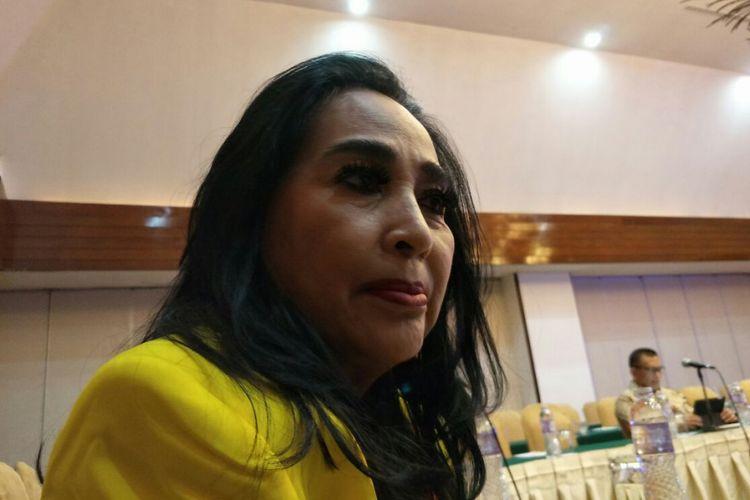 Ketua Umum Partai Berkarya Neneng Anjarwati Tutty ketika ditemui di Hotel Sari Pan Pacific, Jakarta, Senin (26/2/2018).
