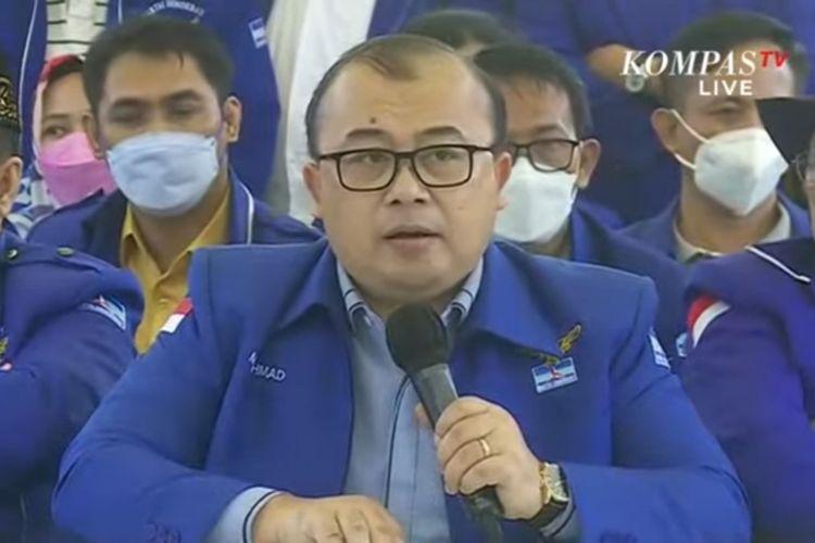 Juru bicara kubu kontra-AHY atau kubu KLB Deli Serdang Muhammad Rahmad dalam konferensi pers di Hambalang, Kabupaten Bogor, Kamis (25/3/2021).