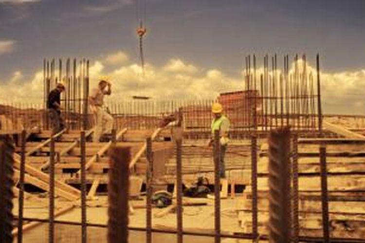 Proses pembangunan masjid Sancaklar, Turki.