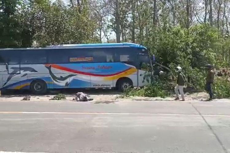 LAKALANTAS--Bus Sugeng Rahayu menabrak sebuah sepeda motor dalam kecelakaan diruas jalan nasional di Desa Pajaran, Kecamatan Saradan, Kabupaten Madiun, Jawa Timur, Selasa (31/8/2021) siang.