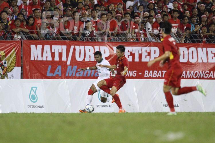 Pertandingan SEA Games 2017 antara Indonesia dan Vietnam di Selayang berakhir imbang tanpa gol, Selas (22/8/2017).