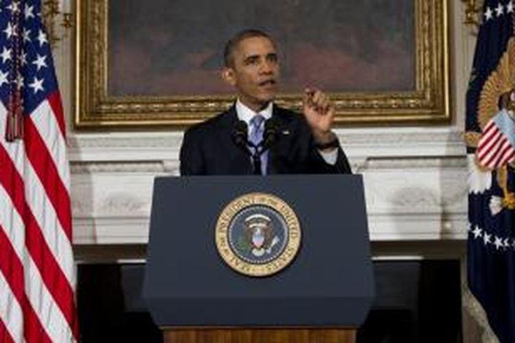 Presiden AS Barack Obama saat memberikan pidato di Gedung Putih, Kamis (17/10/2013) malam.