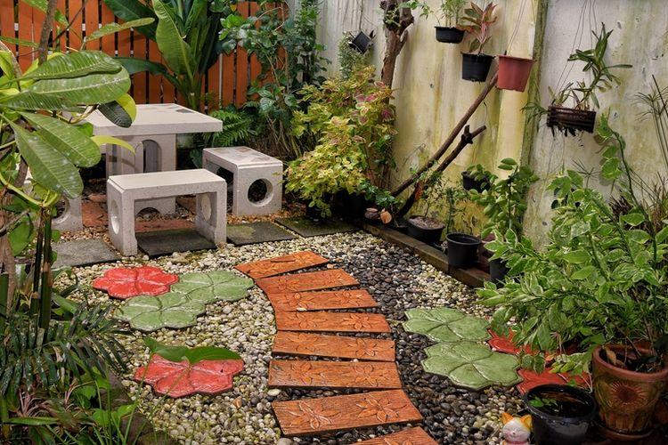 Ilustrasi taman rumah, halaman rumah.