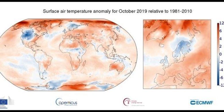 Oktober 2019 adalah bulan dengan suhu terpanas dalam sejarah