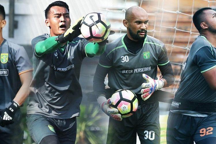 Empat Penjaga Gawang Persebaya Surabaya dari Kiri ke Kanan (Mizwar, Reky Rahayu, Alfonsius Kelvans, Dimas Galih).