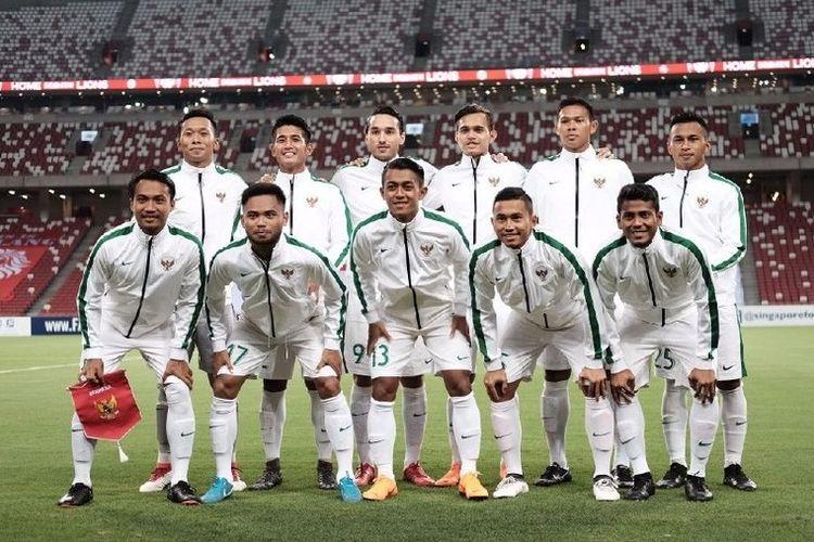 Starting line-up tim nasional U-23 Indonesia saat berhadapan dengan timnas U-23 Singapura di Stadion Nasional, Rabu (21/3/2018).