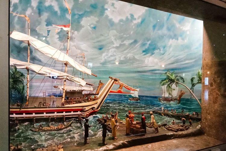 Salah satu diorama bernama Bandar Sriwijaya Abad Ke 7 ? 13 yang dapat kamu lihat di Diorama Sisi 1 yang terletak di lantai dasar Tugu Monas, Jakarta, Rabu (29/1/2020).