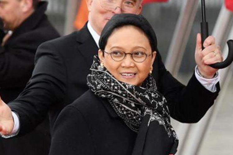 Menteri Luar Negeri Retno Marsudi saat tiba di the World Conference Center di Kota Bonn, Jerman, yang menjadi tempat pelaksanaan pertemuan Menlu G20.