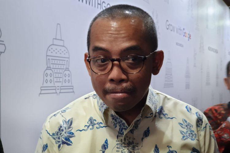 Direktur Jenderal Pajak, Suryo Utomo saat ditemui awak media di acara Grow with Google, di Perpustakaan Nasional, Jakarta Pusat, Selasa (18/2/2020).
