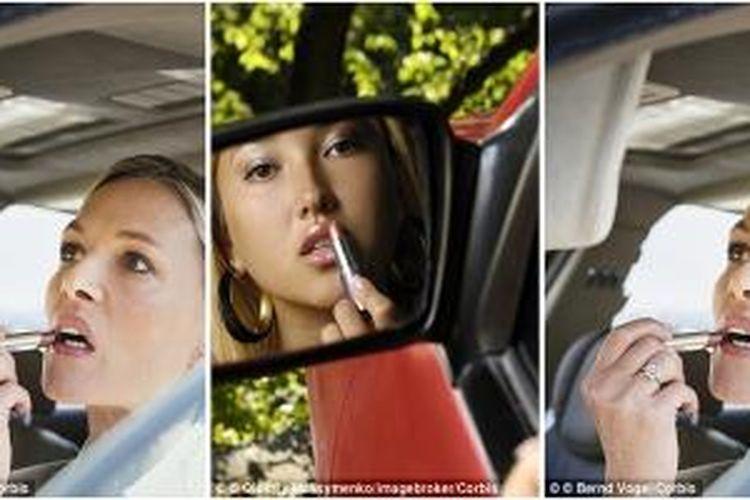Lebih kurang 450.000 kecelakaan di Inggris akibat dari kelalaian pengemudi wanita yang menyetir sembari merias wajah selama perjalanan.