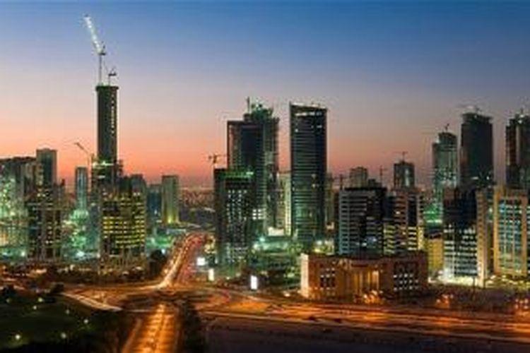 Kondisi pusat bisnis Doha, Qatar, menyambut Piala Dunia FIFA 2022.