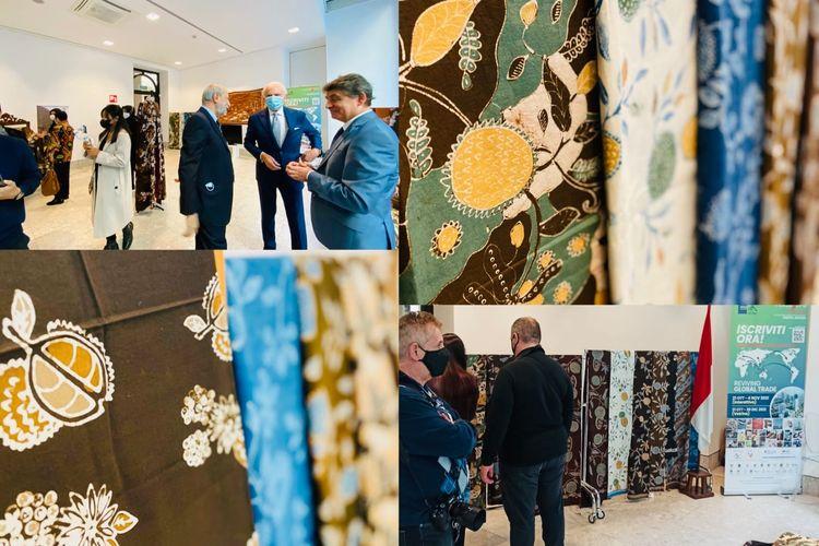 Kolase foto batik durian dalam Milan Fashion Week (MFW) 2021 di Milan, Italia. MFW 2021 berlangsung mulai 21 hingga 27 September 2021.