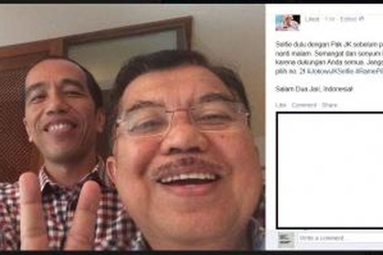 Inilah hasil foto selfie calon Presiden Joko Widodo bersama Jusuf Kalla, Sabtu (5/7/2014). Foto ini diunggah di laman Facebook Jokowi.