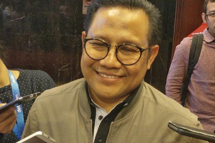 Ketua Umum Partai Kebangkitan Bangsa (PKB) Muhaimin Iskandar saat ditemui di Kompleks Parlemen, Senayan, Jakarta, Senin (8/10/2018).