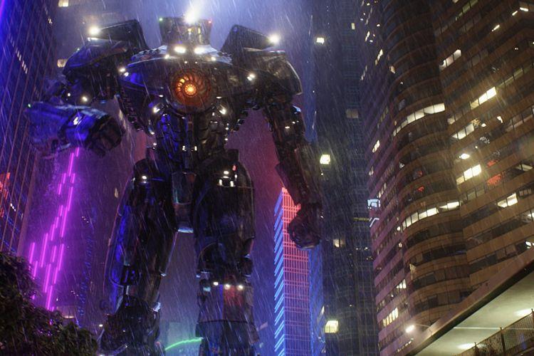 Robot jaeger dalam salah satu adegan di film Pacific Rim. Menurut keterangan di film, tingginya digambarkan separuh Monas lebih 20 meter.