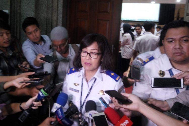 Dirjen Pehubungan Udara Kementerian Perhubungan, Polana B Pramesti di Jakarta, Rabu (13/2/2019).