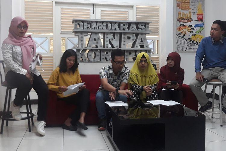 Konferensi pers Indonesia Corruption Watch (ICW) di Kantor ICW Kalibata, Jakarta Selatan, Minggu (24/3/2019).
