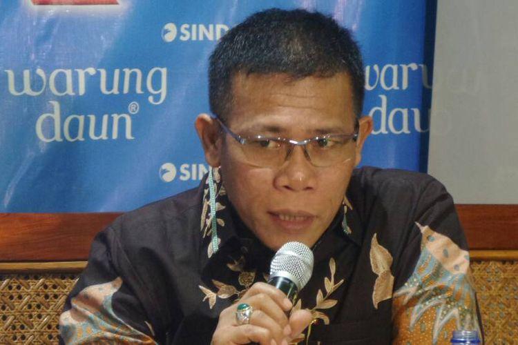 Politisi PDI Perjuangan Masinton Pasaribu dalam sebuah acara diskusi di bilangan Cikini, Jakarta, Sabtu (22/4/2017).