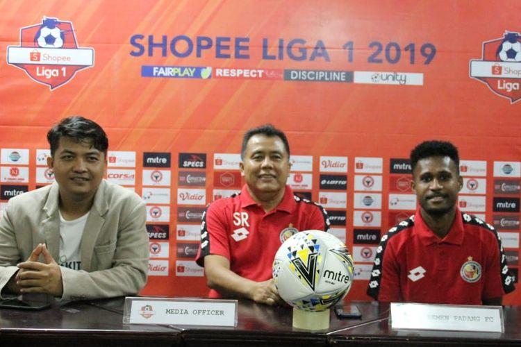 Tim Semen Padang jumpa pers jelang lawan PS Tira Persikabo,  Minggu (7/7/2019)