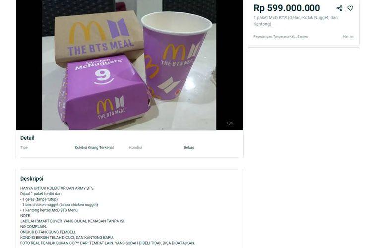 Bungkus BTS Meal dijual seharga 599 juta di marketplace