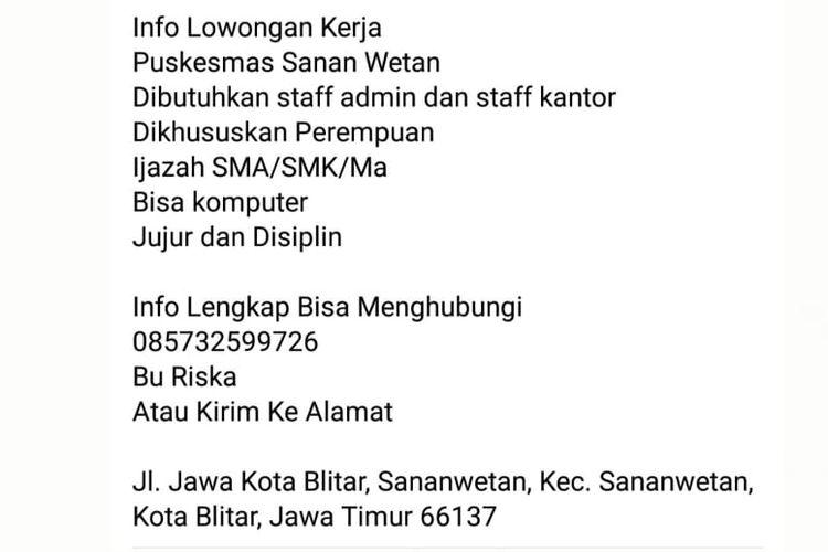 Status Facebook hoaks soal lowongan pekerjaan di uskesmas Sananwetan, Kota Blitar, Jawa Timur.