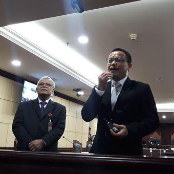 Sekretaris Jenderal Mahkamah Konstitusi Guntur Hamzah di Gedung MK Jakarta, Jumat (22/3/2019).