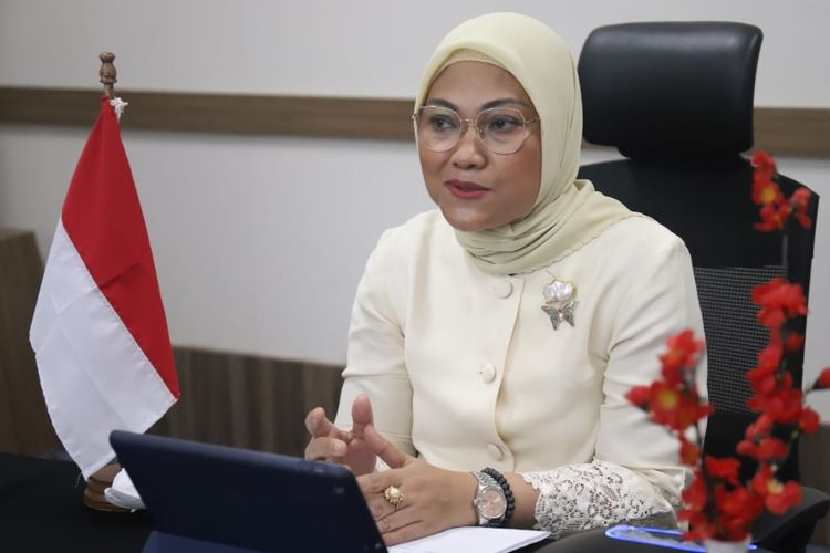 Manpower Minister Ida Fauziyah during a recent virtual meeting on Thursday, December 3, 2020.