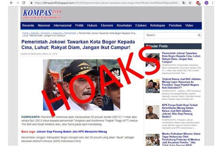 Hoaks Luhut meminta masyarakat Indonesia agar tidak ikut campur dalam penjualan Kota Bogor kepada pemerintah China yang tertulis dalam artikel di blog KompasInfo.