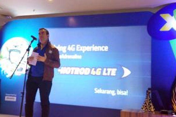 Rashad Javier Sanchez, Act. Chief Revenue & Customer Management XL Axiata dalam acara jumpa pers di Jakarta, Senin (16/3/2015).