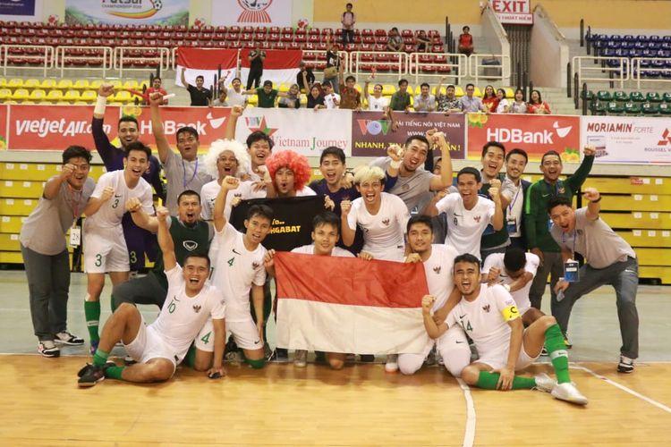 Timnas futsal Indonesia lolos ke semifinal Piala AFF Futsal 2019 setelah mengalahkan Myanmar dengan skor 4-3 di Stadion Indoor Phu Tho, Ho Chi Minh City, Vietnam, Jumat (25/10/2019).