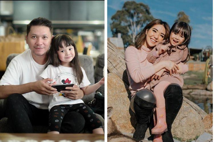 Gading Marten dan Gisella Anastasia masing-masing bersama putri mereka, Gempita Nora Marten.