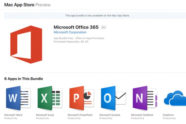 Mac App Store menyediakan Microsoft Office 365