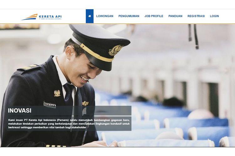 Tangkapan layar situs rekrutmen PT KAI