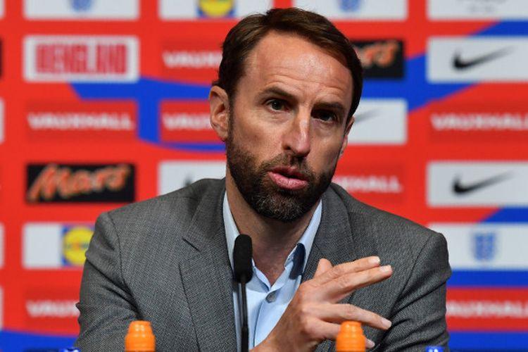 Pelatih Timnas Inggris, Gareth Southgate, memberikan keterangan kepada pers setelah mengumumkan skuad final untuk Piala Dunia 2018, 17 Mei 2018 di Wembley, London.