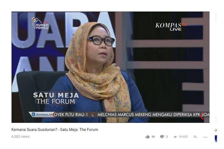 Alissa Wahid saat mengisi acara Satu Meja yang ditayangkan Kompas TV, Rabu (19/9/2018).