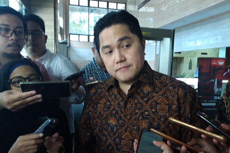 Menteri Badan Usaha Milik Negara (BUMN) Erick Thohir ketika ditemui di kantor Kementerian Koordinator Bidang Perekonomian di Jakarta, Selasa (5/11/2019).