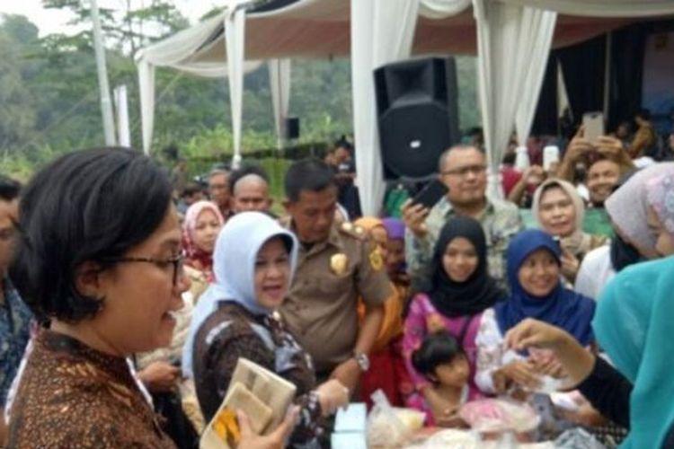Menteri Keuangan Sri Mulyani saat berkunjung ke Bogor, Senin (14/8/2017).