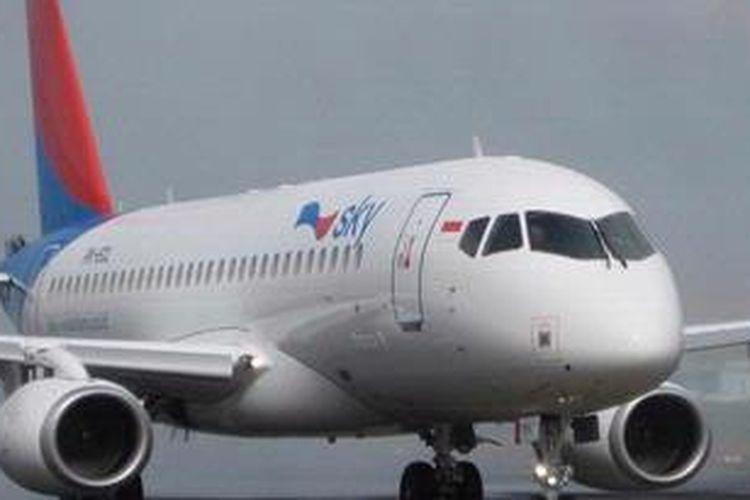 Pesawat Sukhoi Superjet 100 PK-ECL yang dioperasikan Sky Aviation