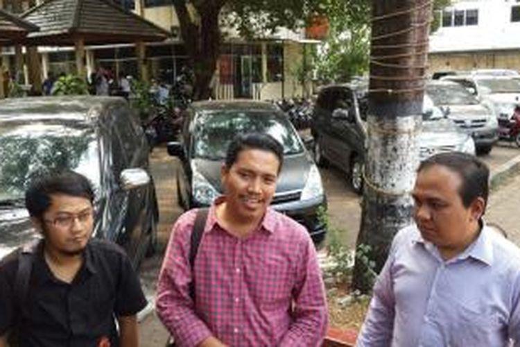 Ketua Umun The Jakmania Richard Ahmad di Mapolda Metro Jaya, Rabu (21/10/2015).