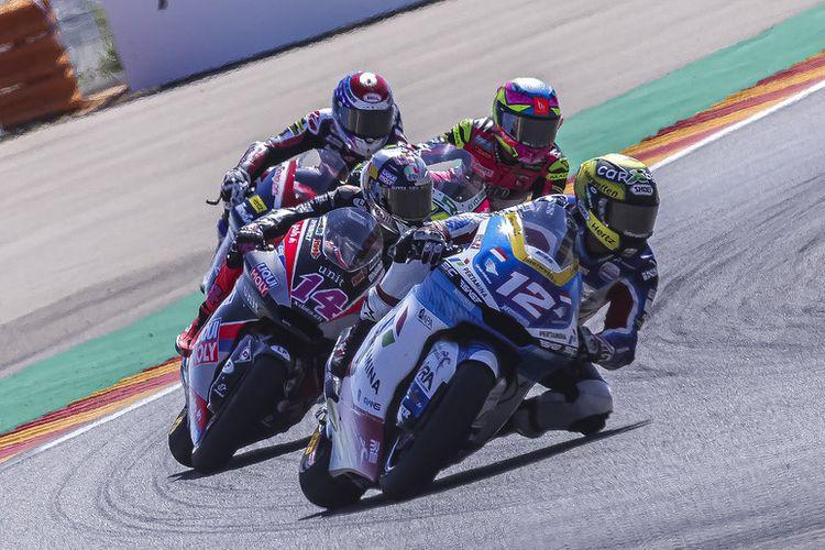 Pebalap Pertamina Mandalika SAG Team, Tom Luthi, saat berlaga pada Moto2 Aragon 2021